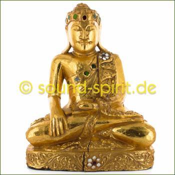 Holz-Buddha sitzend mit Blattgold belegt Höhe ca. 30 cm