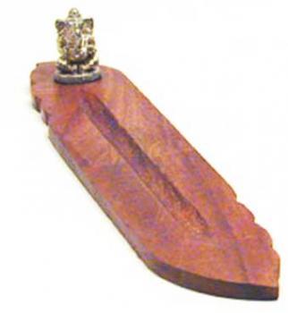 Räucherstäbchenhalter Holz, Schiff mit Ganesha aus Bronze