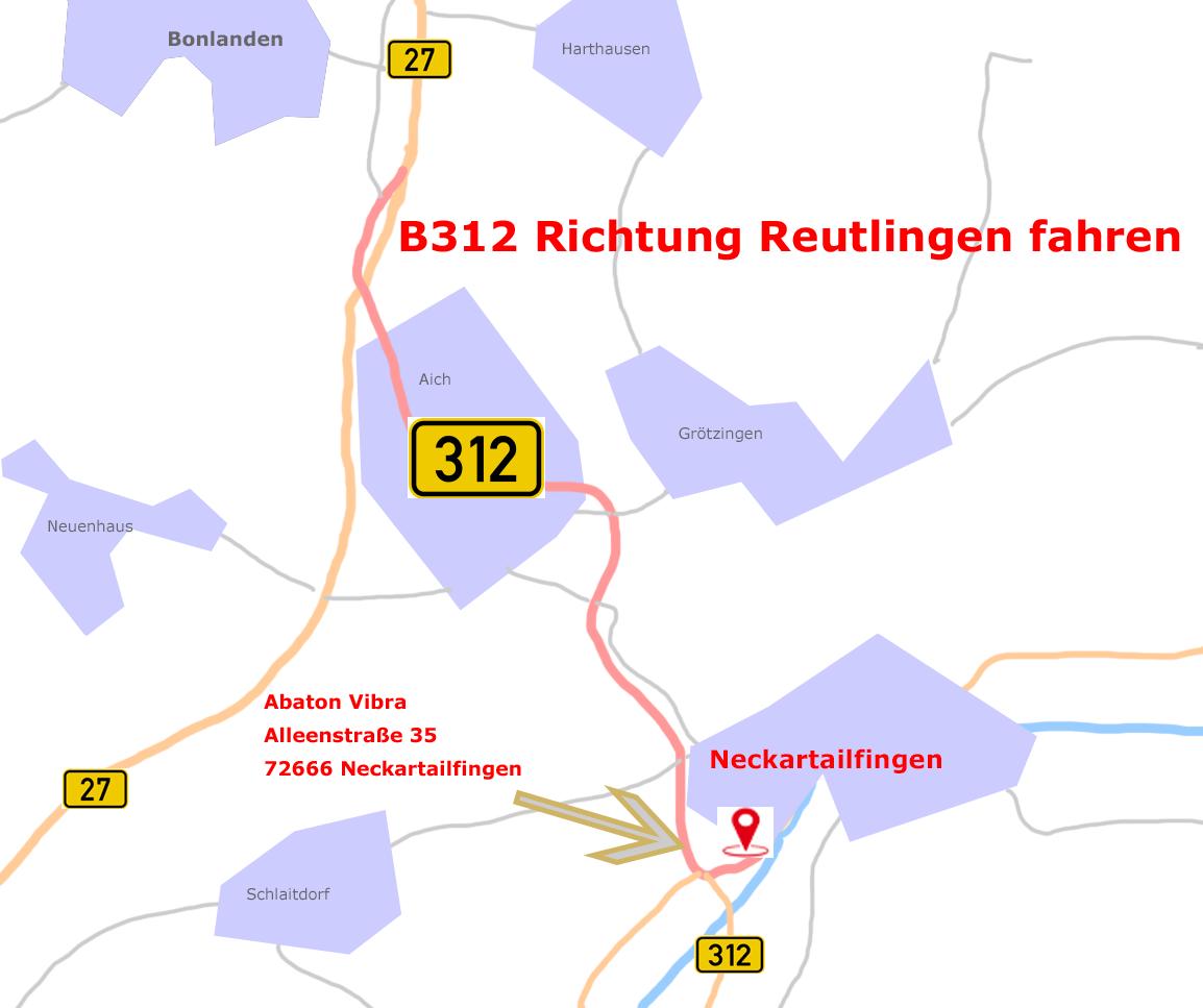 Anfahrt B312 und B27 nach Neckartaiflingen