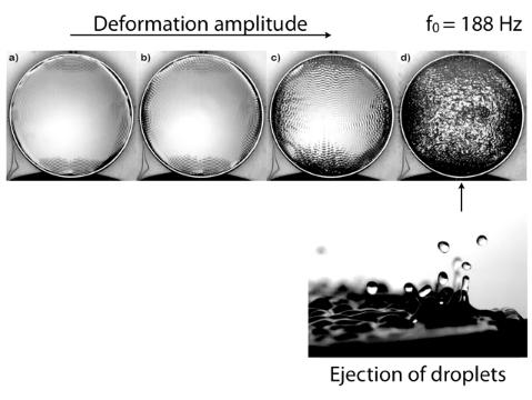 Die ersten Wassertropfen lösen sich von der Oberfläche
